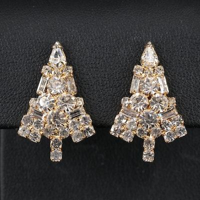 Vintage Eisenberg Ice Rhinestone Christmas Tree Clip Earrings
