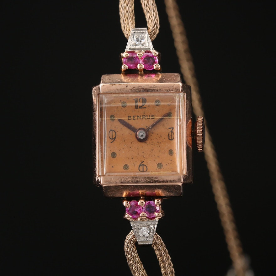Vintage Benrus 14K Rose Gold with Diamonds and Rubies Wristwatch