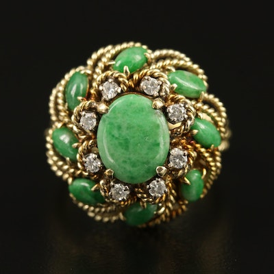 Vintage 14K Jadeite Cluster Ring with Diamond Halo and Rope Detail