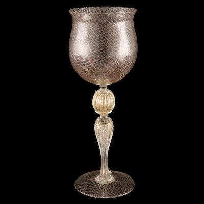 Murano  Cenedese Verti Reticulo Filigrana Oro Wine Glass, Mid-20th Century