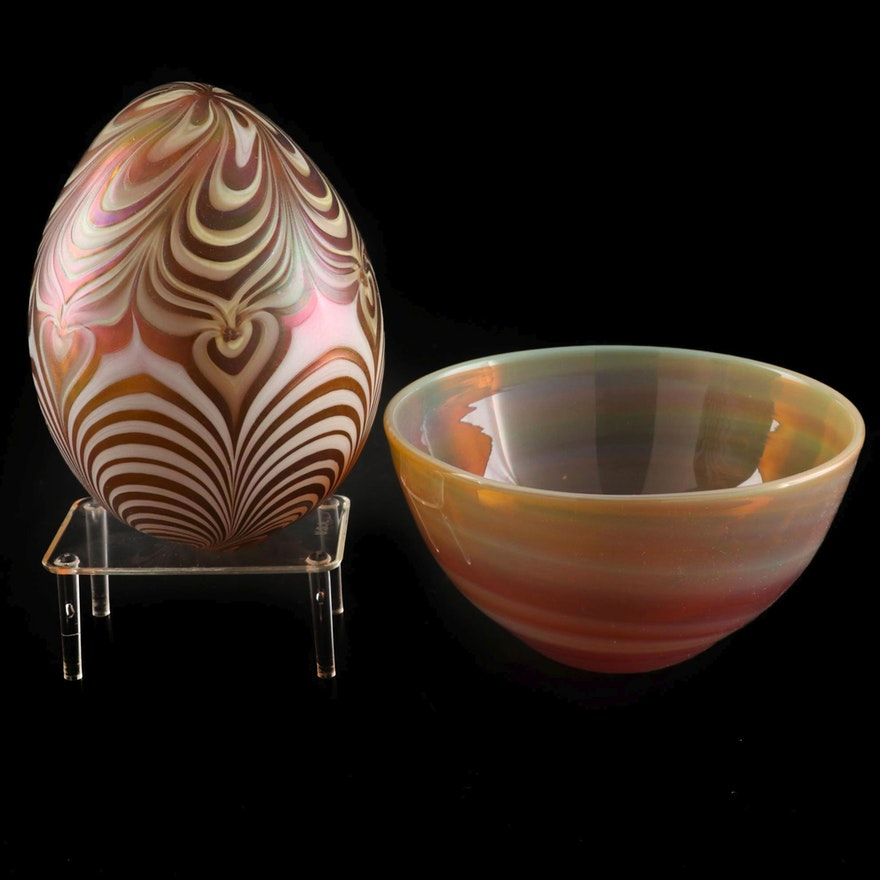 Vandermark Pulled Feather Art Glass Egg with Other Art Glass Bowl