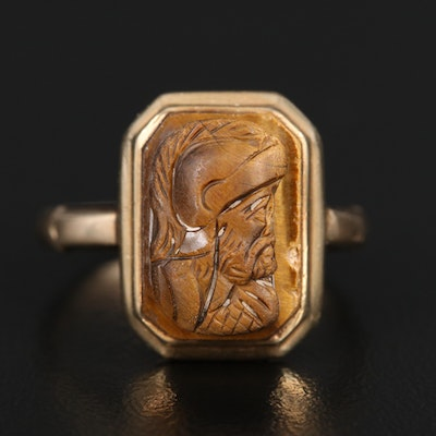 9K Tiger's Eye Soldier Cameo Ring