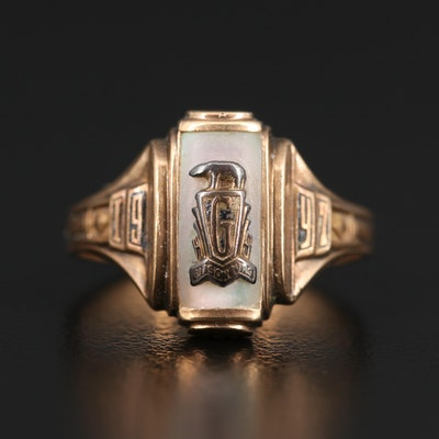 Circa 1947 10K Imitation Mother of Pearl Class Ring