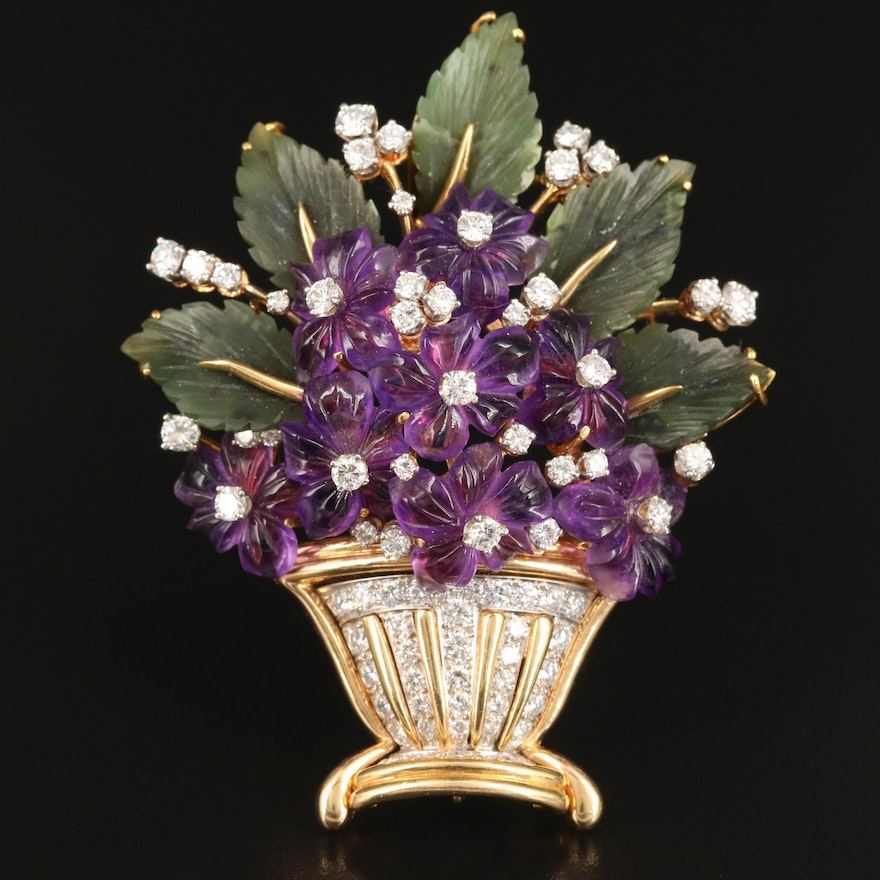 Platinum and 18K Nephrite, Amethyst and 3.06 CTW Diamond African Violet Brooch