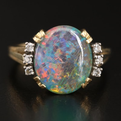 18K Opal Triplet and Diamond Ring