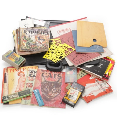 Drawing Supplies, Portfolios, and Instruction Books, Mid to Late 20th Century