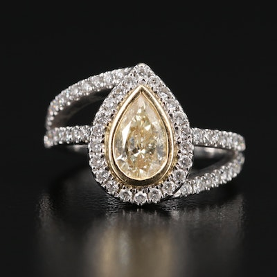14K 1.70 CTW Diamond Teardrop Bypass Ring