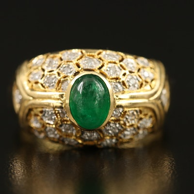 18K Emerald and Diamond Dome Ring