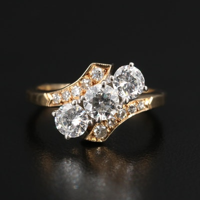 14K 1.47 CTW Diamond Bypass Ring