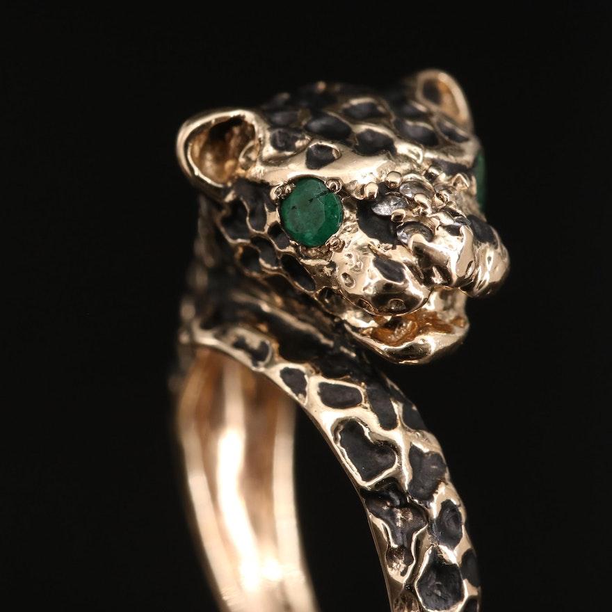 14K Emerald and Diamond Cheetah Ring