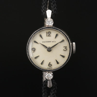 Vintage Tiffany & Co. Diamond and 14K White Gold Stem Wind Wristwatch
