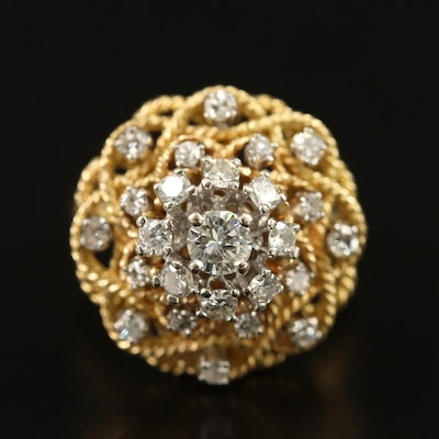 18K Diamond Braided Rope Ring