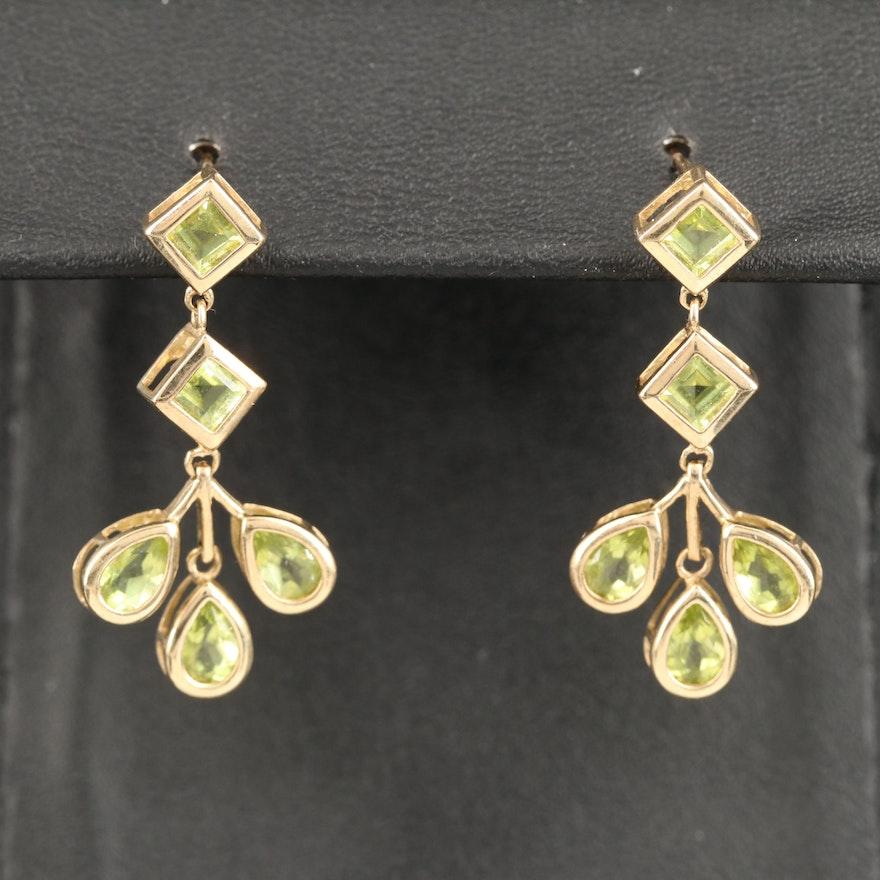 10K Peridot Drop Earrings