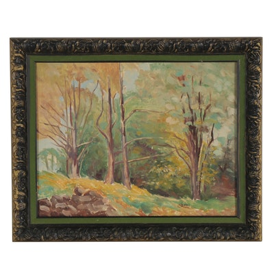 Landscape Oil Painting of Forest, 1942