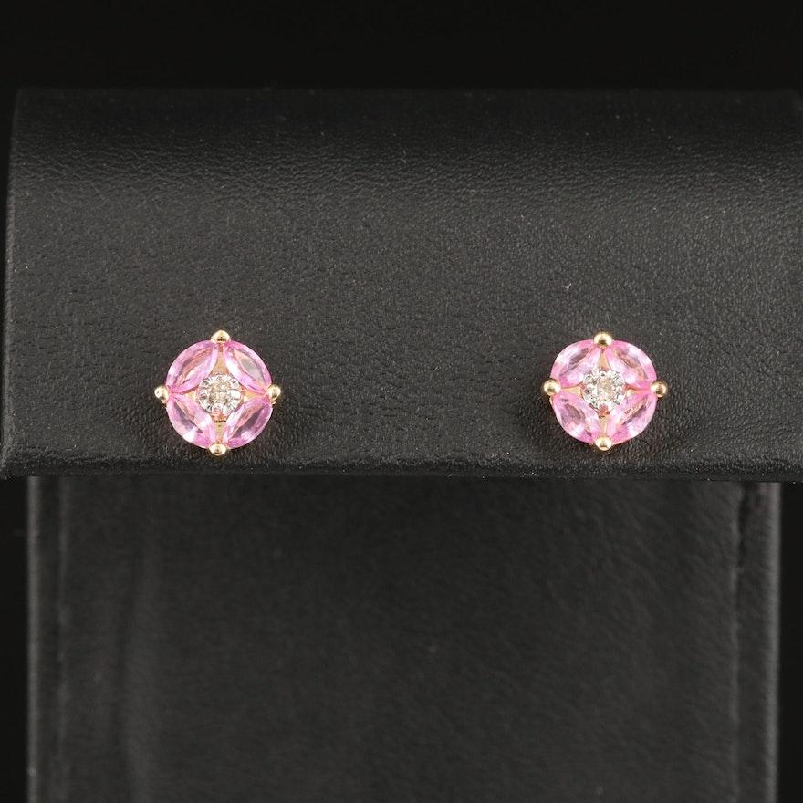 14K Diamond and Sapphire Cluster Earrings