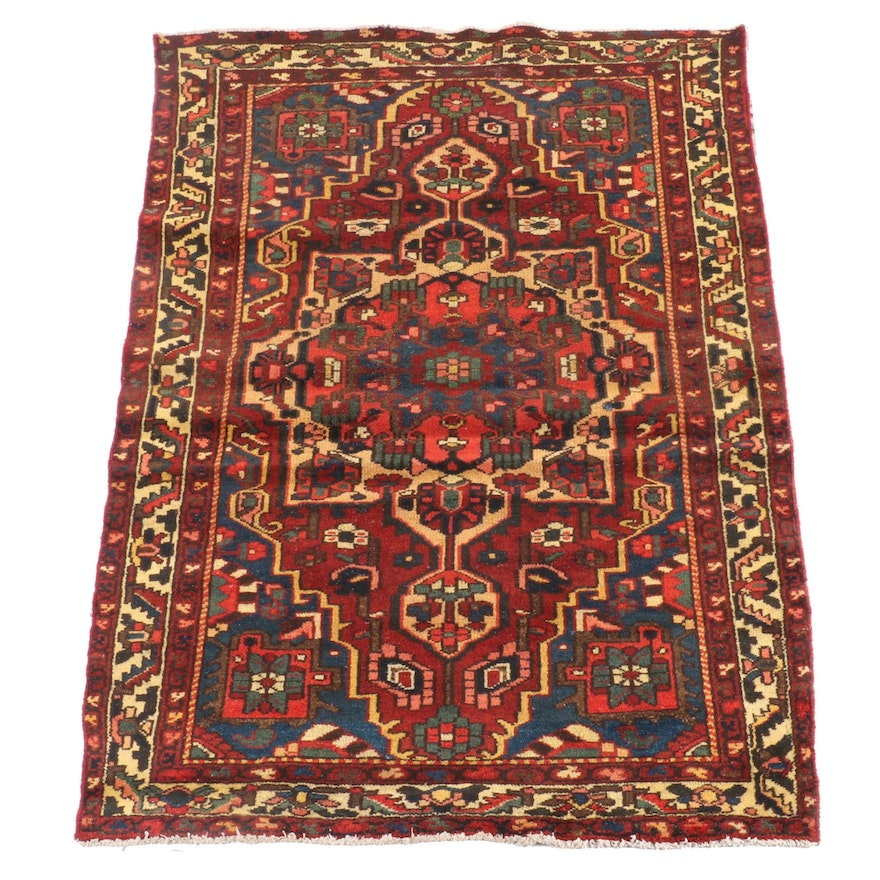4'3 x 6'7 Hand-Knotted Persian Ahar Wool Rug