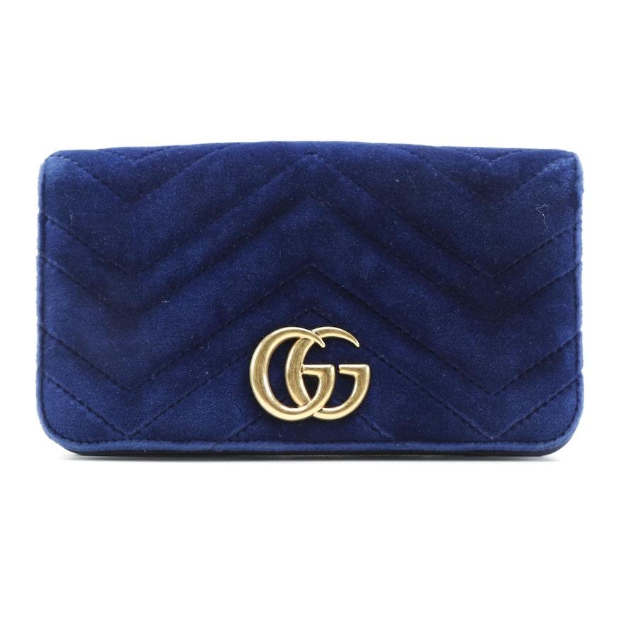 Gucci GG Marmont Blue Velvet Matelassé Crossbody Bag