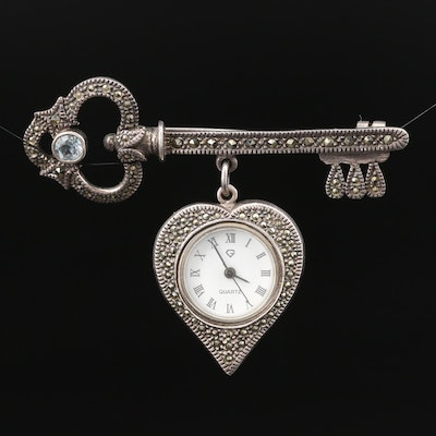 Sterling Silver Pendant Watch with Marcasite and Synthetic Spinel