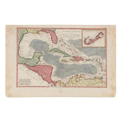"""Rigobert Bonne Hand-Colored Map Engraving """"Les Isles Antilles Et Le Golfe..."""""""