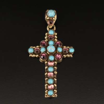 Cross Pendant Featuring Bezel Set Imitation Turquoise and Glass