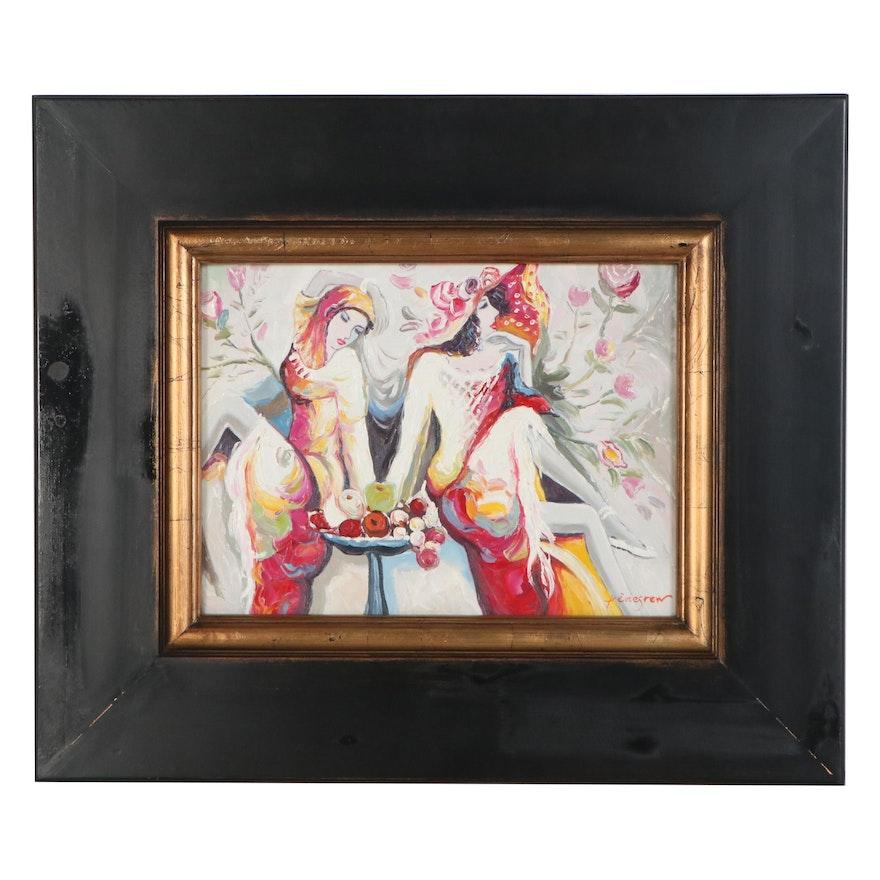 Pettegrew Oil Painting of Abstract Women, 21st Century