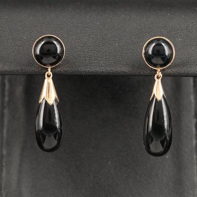 14K Black Onyx Drop Earrings