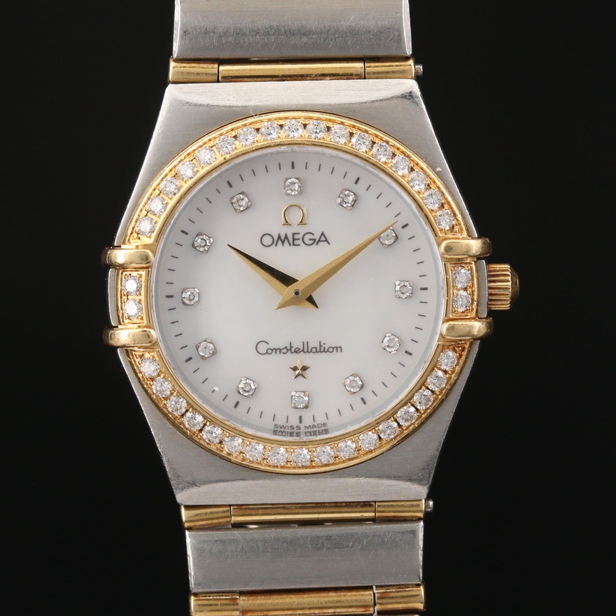 Omega Constellation 18K and Stainless Steel Diamond Wristwatch