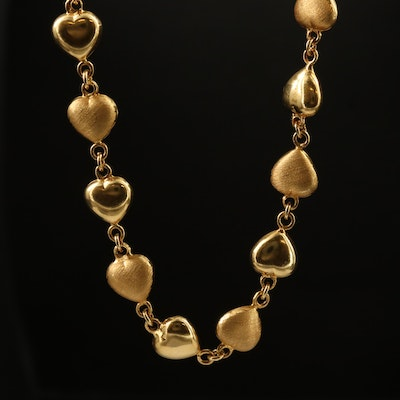 18K Puffed Heart Station Necklace