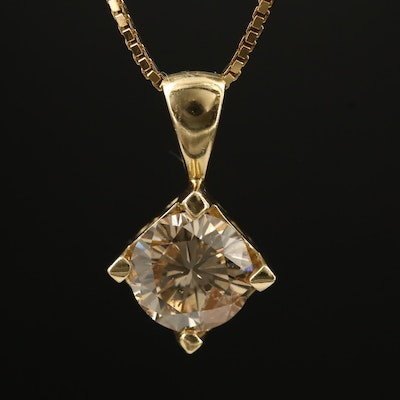 14K 2.02 CT Diamond Pendant on Sterling Silver Box Chain