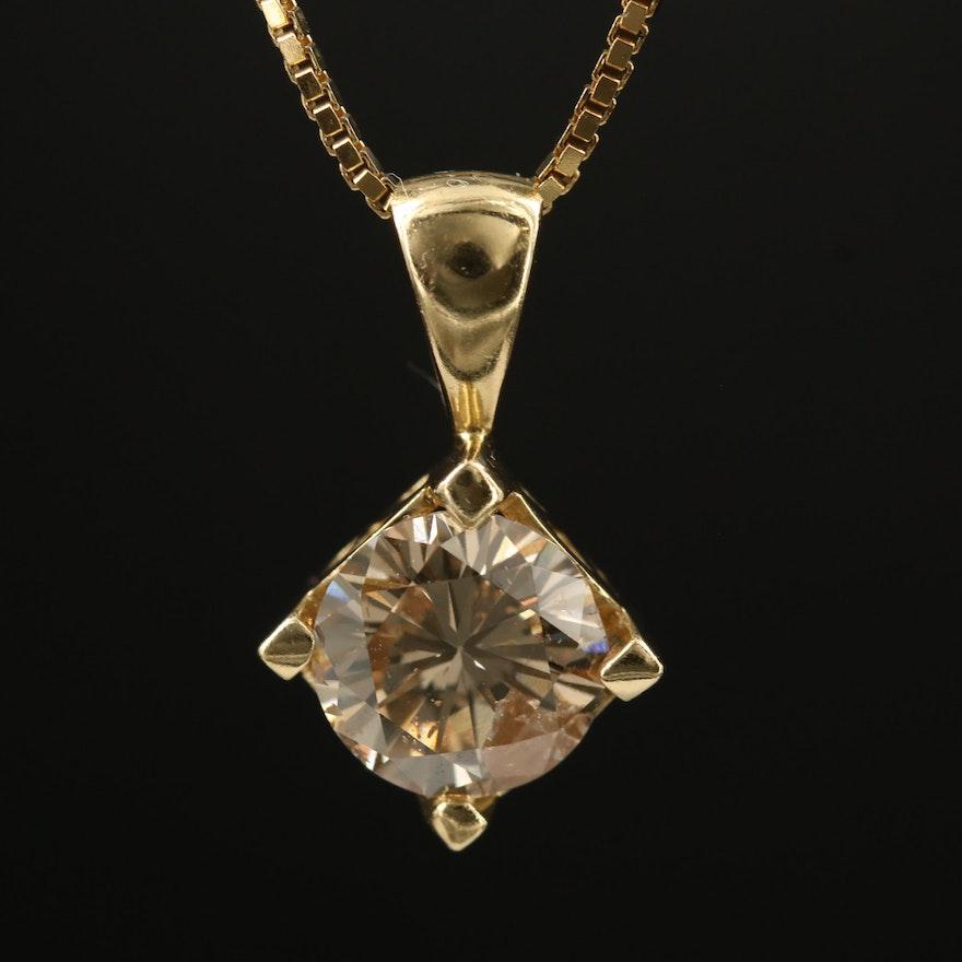 14K 2.02 CT Diamond Pendant on Sterling Silver Box Chain