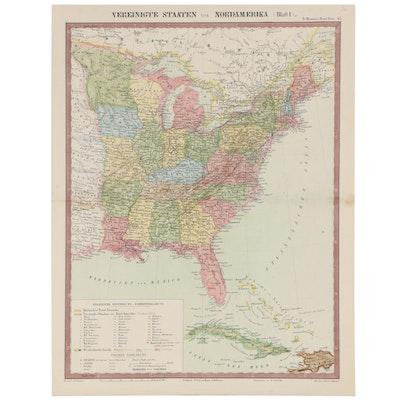 """Ernst Serth Hand-Colored Lithograph Map """"Vereinigte Staaten von Nordamerika"""""""