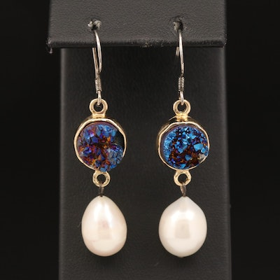 Pearl and Druzy Drop Earrings with Sterling Silver Earwires