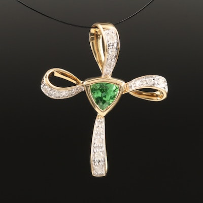 14K Tsavorite and Diamond Cross Pendant