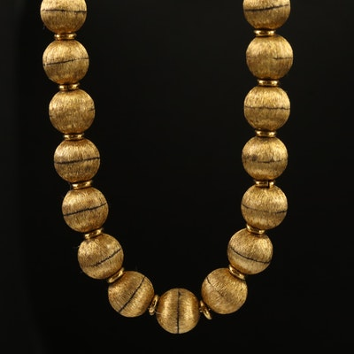 10K Satin Finish Beaded Necklace