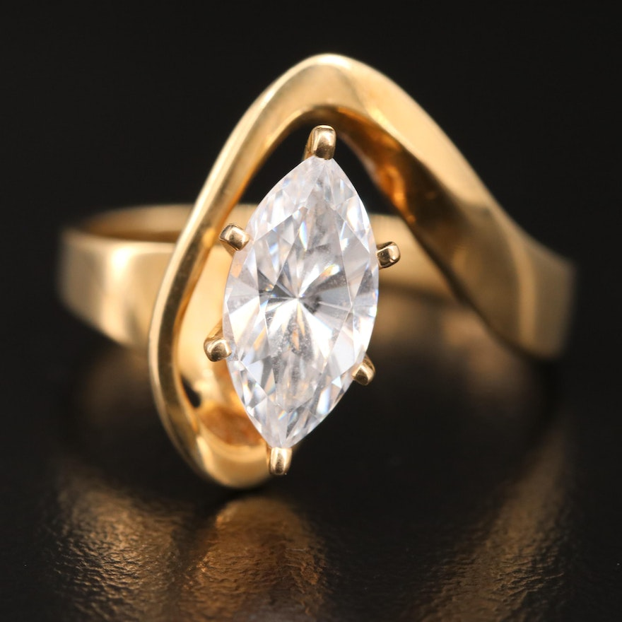 14K Marquise Cubic Zirconia Ring