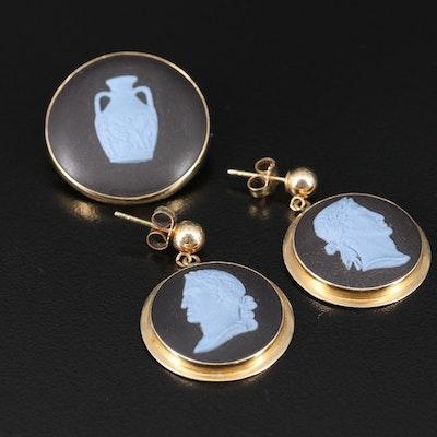 Vintage Wedgwood 14K Jasperware Cameo Earrings and Pendant