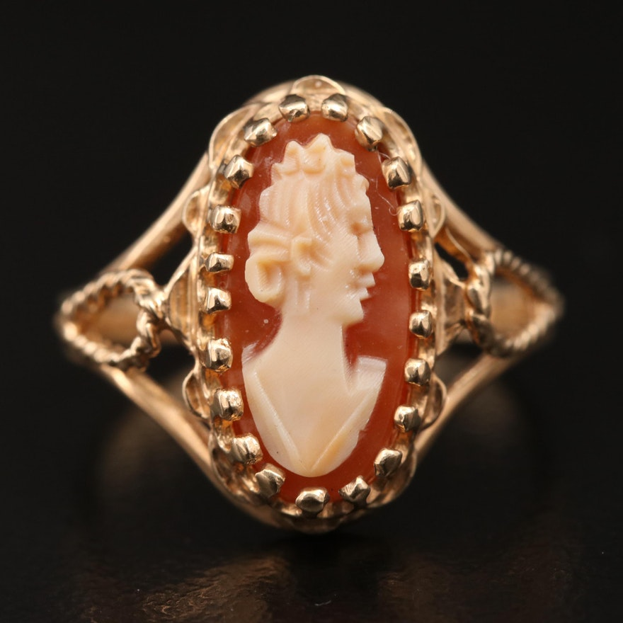 10K Carved Shell Cameo Ring