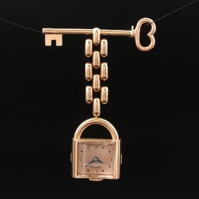 1939 Hamilton 14K Rose Gold and Diamond Watch Brooch