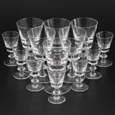 "Val Sr. Lambert Crystal ""State Plain"" Wine and Cordial Glasses, Mid-Late 20th C"