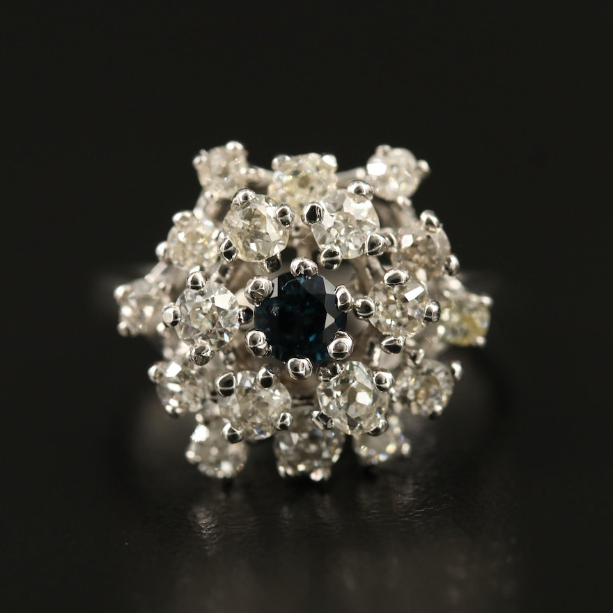 14K Sapphire and 1.32 CTW Diamond Cluster Ring