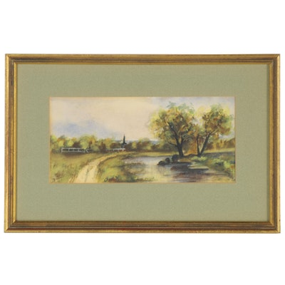 Landscape Watercolor Painting of Country Road, 1907