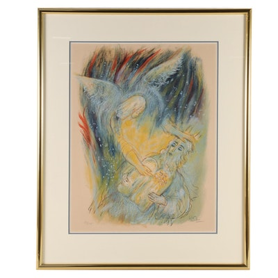 Reuven Rubin Color Lithograph of Moses and Angel