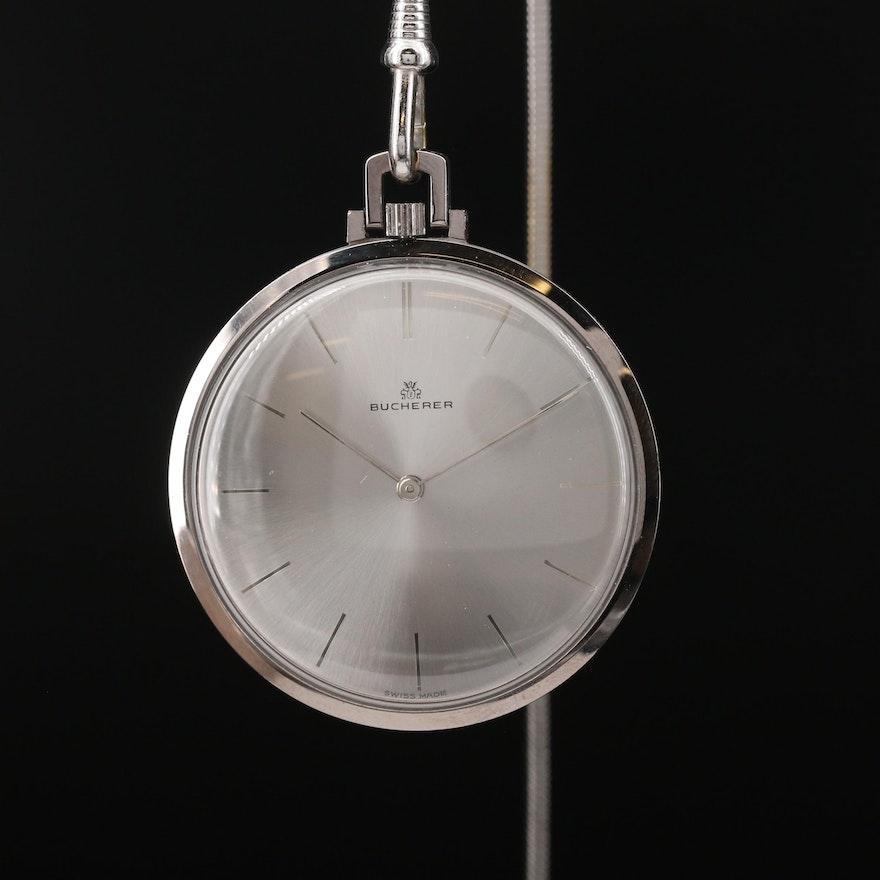 Swiss Bucherer Stainless Steel Stem Wind Wristwatch