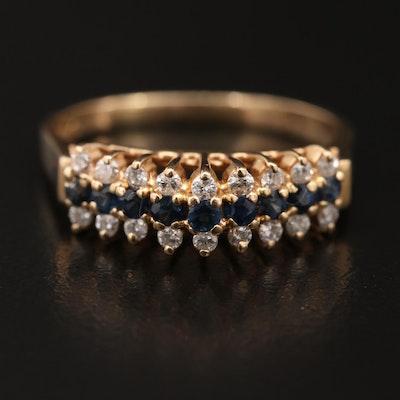 14K Sapphire and Diamond Step Ring
