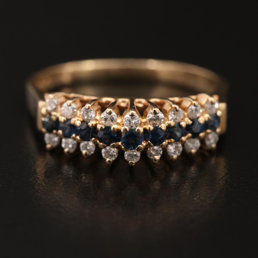 14K Sapphire and Diamond Step Ring