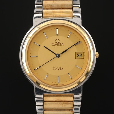 Omega DeVille 18K and Stainless Steel Quartz Wristwatch