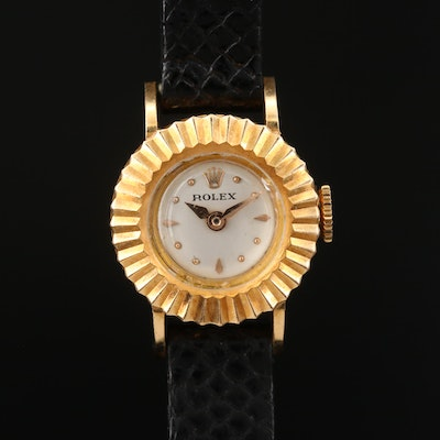 1956 Rolex Orchid 18K Yellow Gold Stem Wind Wristwatch