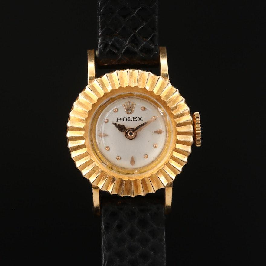 1956 Rolex Orchid 18K Yellow Gold Stem Wind Wristwatch