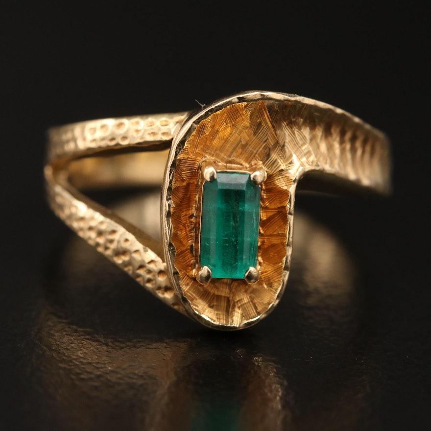 14K Emerald Textured Ring