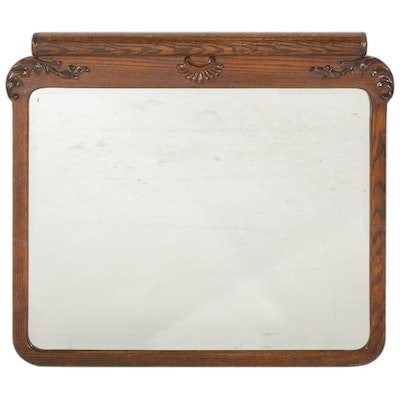 Late Victorian Oak Rectangular Wall Mirror, Late 19th to Early 20th Century